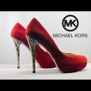 MICHAEL Michael Kors-suede leather/ snakeskin